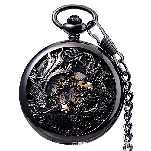 Reloj de Bolsillo Esqueleto para Hombre, grúas mecánicas automáticas de Bronce talladas para Hombres y Mujeres