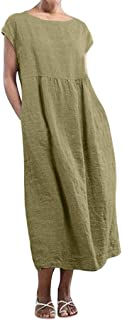 Women O-neck Short Sleeve Maxi Dress ❀ Ladies Solid Fashion Casual Pockets Linen Loose Baggy Kaftan Long Dress