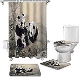 Badmat Set 4 Stuk, Dier Panda Bamboe INKT Schilderij Print Douchegordijn Tapijt Cover Toilet Cover Badmat Pad Set Badkamer Gordijn Home Decor