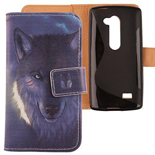 Lankashi PU Flip Leder Tasche Hülle Hülle Cover Schutz Handy Etui Skin Für LG Leon 4G LTE H340N C50 / Optimus Leon C40 Wolf Design