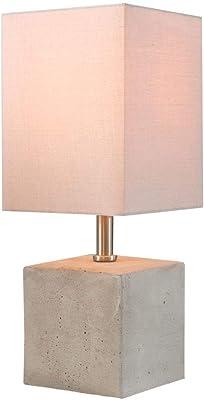Edle Tischleuchte Nachttischlampe mit Keramik beige Stoffschirm eckig weiß