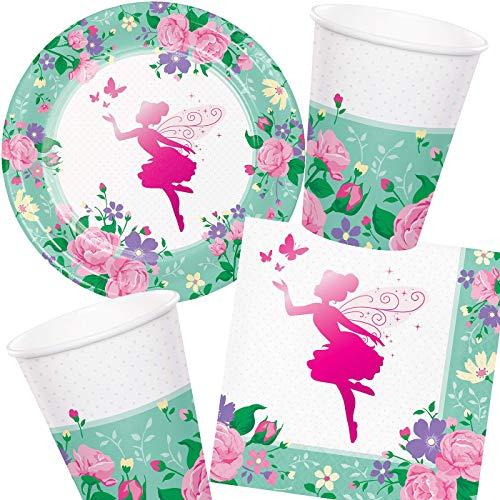 Set de fiesta de hadas de 33 piezas * Fairy Sparkle * con platos, vasos + servilletas + decoración | Juego de vajilla de fiesta para fiesta temática hada