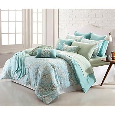 Amrapur Overseas April Leaves 16-Piece Printed Reversible Comforter Set (Queen)
