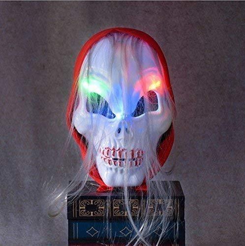 VPlus - 1 máscara de Halloween para Maquillaje con Pelotas de Terror, Color Blanco Brillante Zombie Rojo Bufanda con Pelo Largo Rizado Zombie Calavera Brillante máscara de fantasía fría