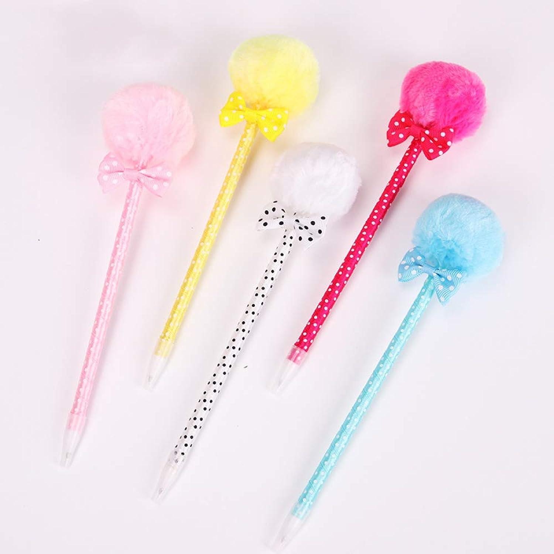 TYHXSWF Cute Stationery Bow Plush Ball Polka dot Pen School Office Ballpoint Pen Girl Gift School Supplies