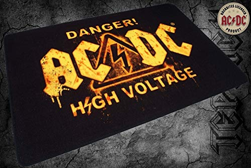 Rockbites AC/DC–Alfombra Infantil–Danger High Voltage Felpudo de música Alfombra Heavy Metal, 120 x 80 cm