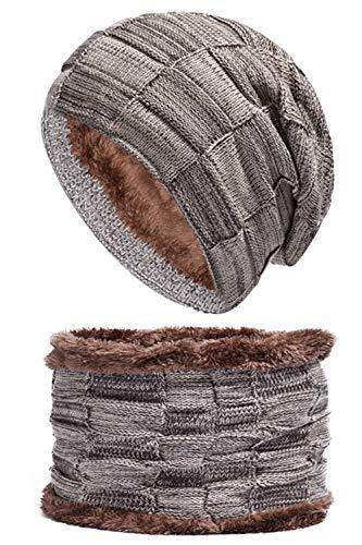 BABYONLINE D.R.E.S.S.® Warm gefütterte Beanie + Schal mit Teddy-Fleece Fütterung mit Flechtmuster Wintermütze Einheitsgröße für Damen & Herren Mütze khaki