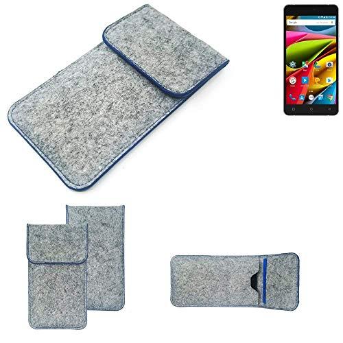 K-S-Trade Filz Schutz Hülle Für Archos 55b Cobalt Lite Schutzhülle Filztasche Pouch Tasche Hülle Sleeve Handyhülle Filzhülle Hellgrau, Blauer Rand