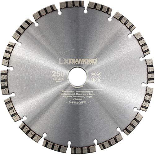 LXDIAMOND Disco de corte de diamante de 250 mm x 30 mm, para hormigón, piedra y hormigón armado, universal, apto para sierra de piedra, lijadora de corte, Motorflex, cortador de juntas, 250 mm
