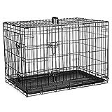 Jaula para perros – Jaula plegable de metal negro con 2 puertas (frontal y lateral) con bandeja base de plástico resistente a la masticación y asa de transporte (mediano)