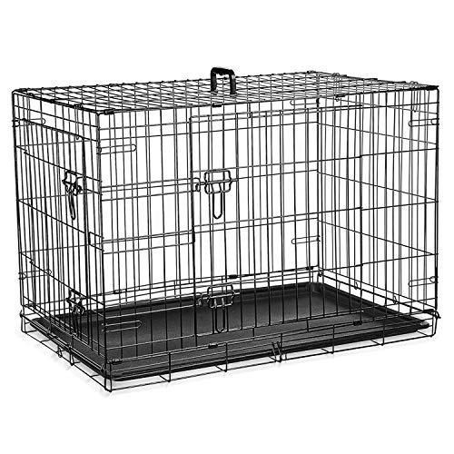 Jaula para perros (91cm) – Jaula plegable de metal negro con 2 puertas (frontal y lateral) con bandeja base de plástico resistente a la masticación y asa de transporte (grande)