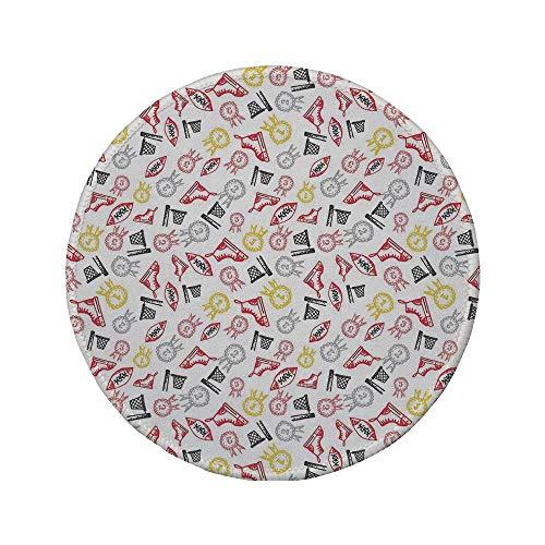 Rutschfreies Gummi-rundes Mauspad Sport handgezeichnete Gekritzel-Symbole Körperliche Aktivität Schuhe Reifen mit Auszeichnungen Abstrakter Druck Dekorativ Mehrfarbig 7.9