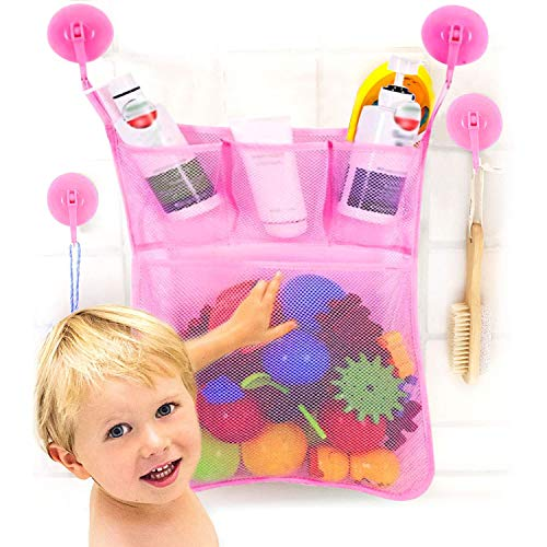 OMZGXGOD Bad Organizer für Badewannenspielzeug,Badespielzeug Aufbewahrung mit Mehreren Taschen ,Badespielzeug Lagerung , Spielzeugnetz mit 4 Selbstklebend Haken-Rosa