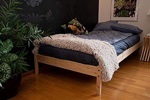 J Johansson Springfield Wood Platform Bed Frame Wooden Slates 39x75 Easy Assembly Twin Pine product image