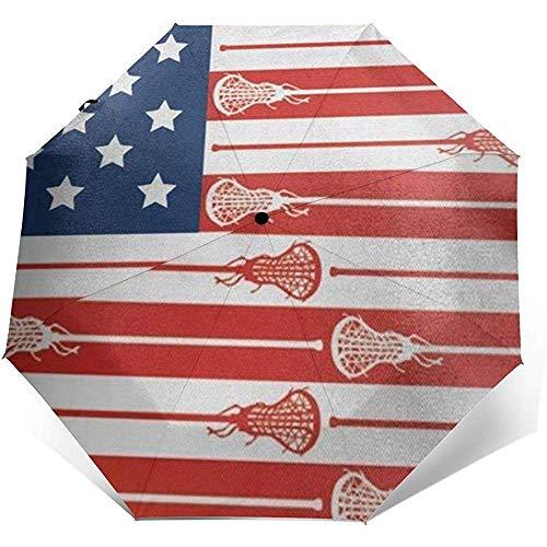 USA Lacrosse Sticks Flag Reiseschirm Sonnenschirm-Lightweight Windproof Sunscreen Umbrella-Auto Öffnen und Schließen-Taste