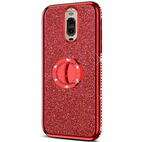 Urhause Coque pour Huawei Mate 9 Pro Étui avec 360 Degrés Anneau Support de Bague Stand Housse Paillette Strass Brillante Bling Glitter Bumper Couverture Placage Huawei Mate 9 Pro,Rouge
