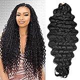 4 Packs Kima Ocean Wave Crochet Hair for Women 28 inch 3X Body Wave Bundles Synthetic Deep Wave Braiding Hair Extensions Kanekalon Fiber (1B, 28')