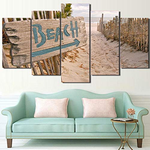 ZNNHERO Leinwanddrucke Wandkunst Leinwand Malerei 5 Stück HD-Druck Sea Ocean Beach Zaun Poster und Drucke Modular Art Home Decor Drucke auf Leinwand Rahmen