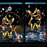 Areskey イルミネーションライト Christmas Santa Claus Motif サンタクロースモチーフ 壁掛けサンタクロースクオーナメント LEDつららライト吸盤式 ウォームホワイトガーランドライト 電池式【単4電池3本 】 フェアリーライト 2セットの電飾 クリスマス、パーティー、パティオ、ベッドルーム、冬、新年、結婚式、お誕生日、などに最適