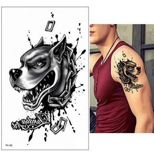 3ps-Impermeable Tatuaje Hombre Tatuaje Bosque Lobo Tatuaje Negro Gran tatuaje Niño Hombre Brazo Tatuaje Pecho Arte Tatuaje grande 3ps-