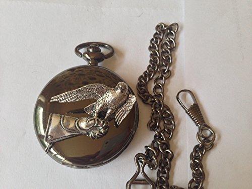 B23Falcon auf der Handschuh poliert schwarz Fall Herren Geschenk Quarz Taschenuhr hergestellt in Sheffield