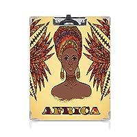 クリップボード A4 伝統的なターバンとヤシの木の文化的な民俗グラフィックアート かわいい画板 多色のアフリカの民族の女性 A4 タテ型 クリップファイル ワードパッド ファイルバインダー 携帯便利