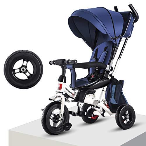 HongTeng Bicicletta for Bambini Auto for Bambini a 3 Ruote Bicicletta a Mano Sedile a Spinta Ammortizzatore 1-3 Anni Bambino Bicicletta Passeggino for Bambini Trike Tenda da Sole (Color : Blue)