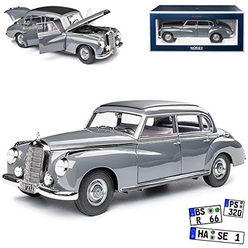 Mercedes-Benz 300 W186 Adenauer Limousine Dunkel Grau 1951-1957 1/18 Norev Modell Auto mit individiuellem Wunschkennzeichen