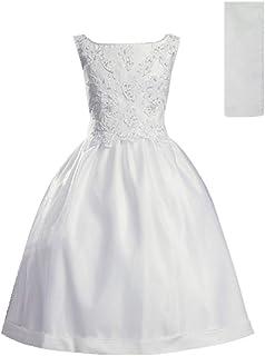 فساتين المناولة الأولى للبنات 7-16 هولي 1st Communion اللباس الأبيض زائد الحجم Vestidos de Primera Comunion para Niñas
