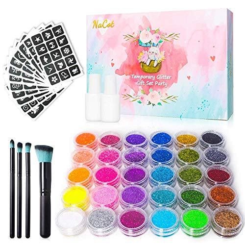 Glitzer Tattoo Set Kinder Temporäre Tattoos Make Up Körper Glitzer Kunst Design mit 30 Farbes Glitzer Parteie Festivals Geschenke für Mädchen Jungen Schönheit