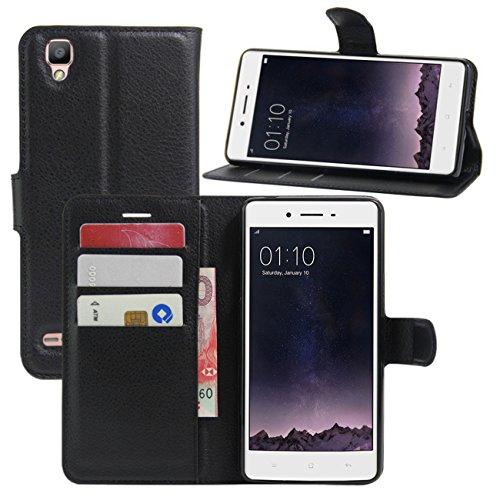 HualuBro Oppo F1 Hülle, [All Aro& Schutz] Premium PU Leder Leather Wallet HandyHülle Tasche Schutzhülle Flip Hülle Cover mit Karten Slot für Oppo F1 Smartphone (Schwarz)