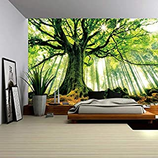 ENJOHOS Nature Forest Thick Tree Wall Tapestry Large 3D Print Wall Art Hanging for Bedroom Living Room Dorm Decor, W79 x T59,Green and White