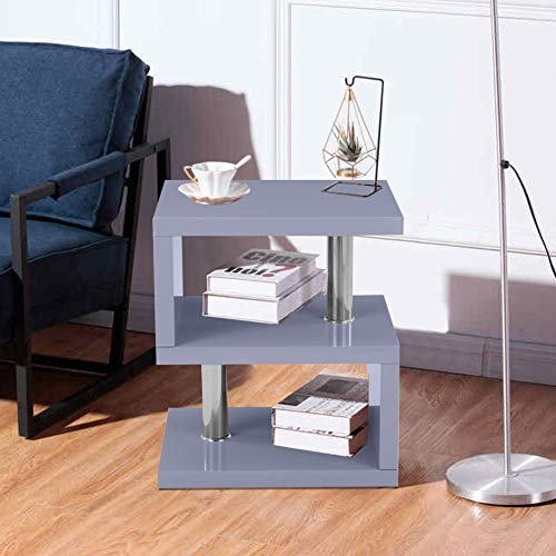 GOLDFAN S Shaped Side Table Modern Grey High Gloss Coffee Table End Table with 2 Tier Storage Shelves for Living Room Home office