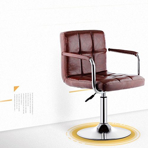 QZz Tabourets de Bar Chaise élévatrice Chaise de Salle à Manger rotative avec Dossier avec accoudoirs Chaise de Salon décontractée (Couleur : Marron, Taille : H40-55cm)