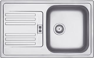 Franke EFN 614 � 78 Euroform Edelstahl Küchenspüle Spültisch Spülbecken Einbauspüle mit 1 Becken und Abtropffläche Textur Seiden, Grau