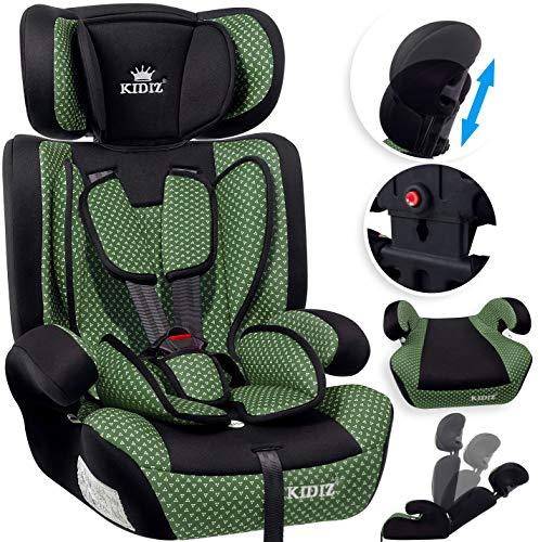 KIDIZ® Autokindersitz Kindersitz Kinderautositz | Autositz Sitzschale | 9 kg - 36 kg 1-12 Jahre | Gruppe 1/2 / 3 | universal | zugelassen nach ECE R44/04 | 6 verschiedenen Farben Grün