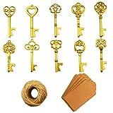 Apribottiglie chiave - 50 pezzi Apribottiglie chiave scheletro vintage con carta regalo Kraft e spago per bomboniere Decorazione rustica antica per feste (10 stili, d'oro)