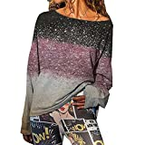 Camiseta De Manga Larga con Costura Degradada De OtoñO E Invierno A La Moda CóModa para Mujer Superior, Camiseta para Mujer