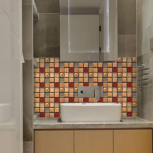 Azulejos de pared de mosaico 3D, papel tapiz de pegatinas de pared de película brillante recubierto de PVC, decoración autoadhesiva extraíble habitación cocina baño 20cm*20cm 10 piezas JHXC149