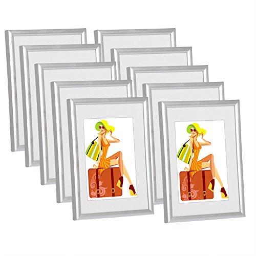 WOLTU #315 Bilderrahmen Bildergalerie Fotogalerie mit Passepartout, Foto Collage Galerie, Kunststoff und Echtglas, New Life Style, Silber, A4 21x29,7 cm, 10er Set