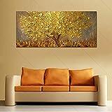 Ölgemälde Handgemalte Messer Gold Baum Ölgemälde Auf Leinwand Große Palette 3D Gemälde for Wohnzimmer Moderne Abstrakte Wandkunst Bilder (Kein Rahmen, Nur Leinwand)