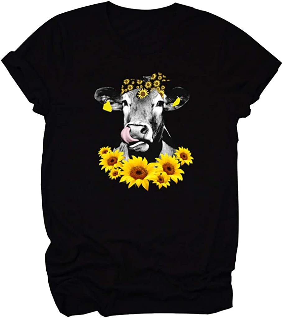 Womens T Shirts, Womens Crewneck Graphic T Shirts Short Sleeve Cute Cow Sunflower Print for Teen Girls Tops Plus Size