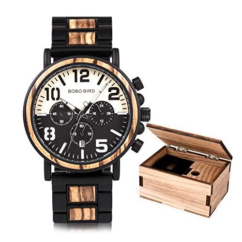 Relojes de Madera Hombre de Acero Inoxidable con cronógrafo y Fecha, Relojes de Cuarzo