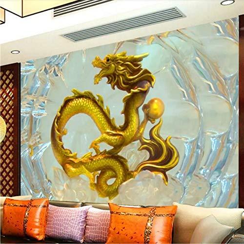 pmhc Chinese draak wanddecoratie, wanddecoratie, personaliseerbaar, behang, 3D foto, wand, woonkamer, behang, muurschilderij 350 x 250 cm