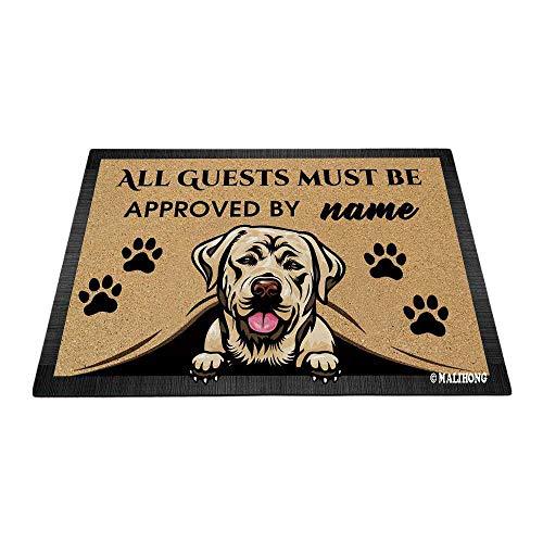 Bageyou - Felpudo de labrador personalizado con nombre de perro y nombre de perro (35,4 x 23,6 pulgadas)