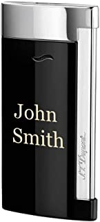 Personalized S.T.Dupont Slim 7 Single Torch Flame Lighter - Black Lacquer & Chrome with Free Laser Engraving