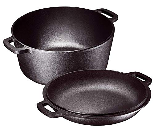 Bruntmor Heavy Duty Pre-Seasoned 2 In 1 Cast Iron Pan Double Dutch Oven Set and Domed 10 inch Skillet Lid, Open Fire Camping Dutch Oven, Non-Stick, 5-Quart