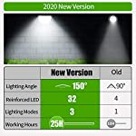 Claoner 32 LED Solar Landscape Spotlights, Wireless Waterproof Solar Landscaping Spotlights Outdoor Solar Powered Wall Lights for Yard Garden Driveway Porch Walkway Pool Patio- Cold White(2 Pack) New Version Comparison