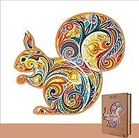オオカミ木製漫画デザインキッズおもちゃ家の装飾パズルジグソーピースギフト (squirrel)