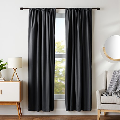 AmazonBasics Room Darkening Blackout Window Panel Curtains - Pack of 2, 52 x 84 Inch, Black